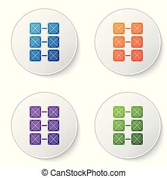 Color Mining farm icon isolated on white background. Cryptocurrency mining, blockchain technology, bitcoin, digital money market, cryptocoin wallet. Set icons in circle buttons. Vector Illustration