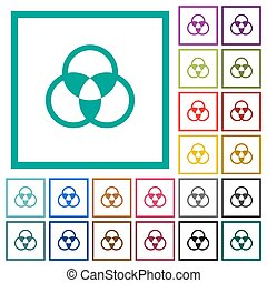 Color mixing flat color icons with quadrant frames on white...