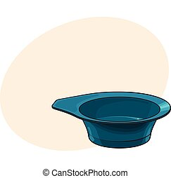 Color mixing plastic hairdresser bowl, sketch style vector illustration