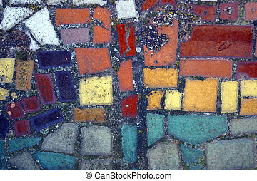 Warm abstract color ceramic mosaic.