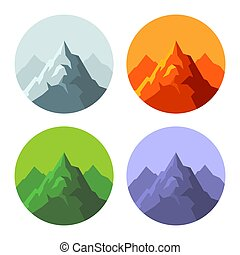 Color Mountain Icons Set on White Background. Vector