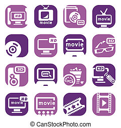 color movie icons set