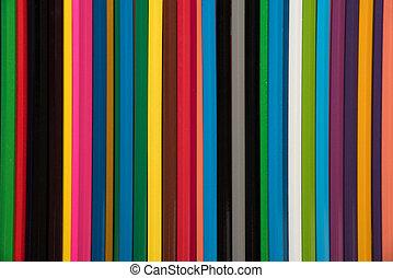 color, muchos, plano de fondo, lápices