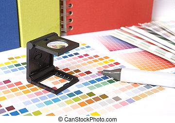 color, muestras, y, pluma del marcador