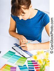 color, mujer, selección, muestras, trabajando