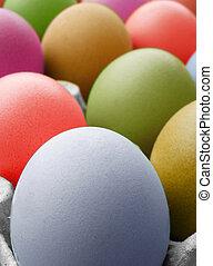 color, multi, huevos