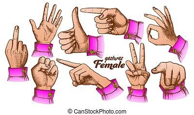 Color Multiple Female Caucasian Hand Gesture Set Vector