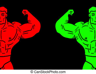 Color muscles man - Creative design of color muscles man