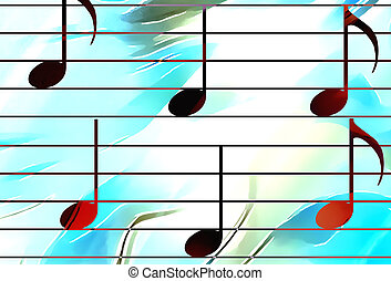 color music notes and color background. Music concept. -...