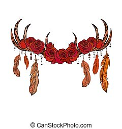 Color native drawing of deer antlers with feathers and roses. Tribal illustration. Vector boho element f
