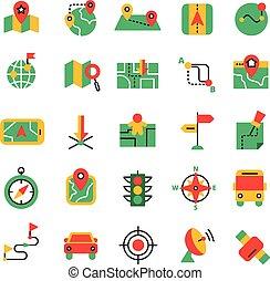 Color Navigation Icons Set