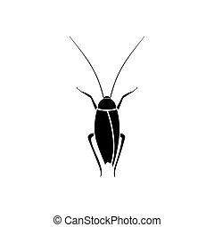 color, negro, cucaracha, icono