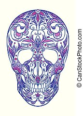 Color neon illustration of a sugar skull. The holiday of the Day of the Dead.