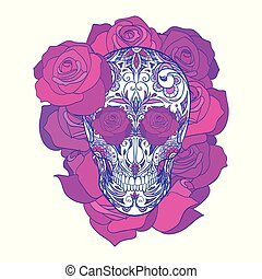 Color neon illustration of a sugar skull with roses. The holiday of the Day of the Dead.
