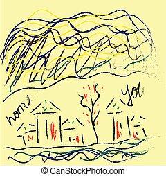 color, niño, ilustración, dibujo, vector, aldea, o, hogar