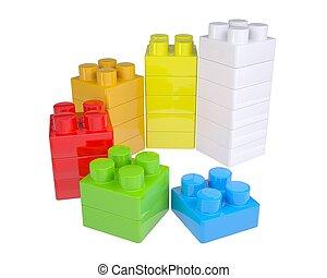 color, niños, bloques, escalera