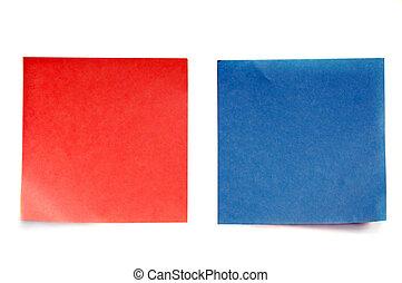 postit - Color note (postit) over white background