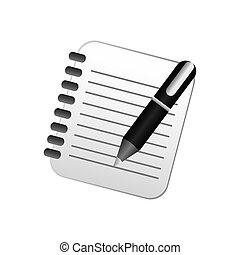 color notebook with pen icon