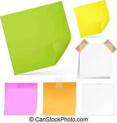 Color Notes Paper Set, Isolated On White Background, Vector Illustration