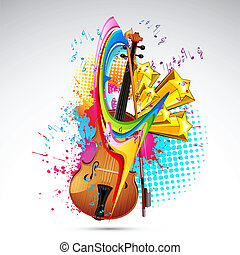 Color of Music - illustration of violin on colorful abstract...
