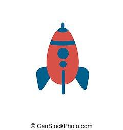 Color of rocket flat vector icon