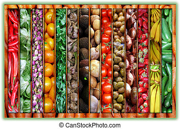 Color of the market collage - A Collage of colorful products...