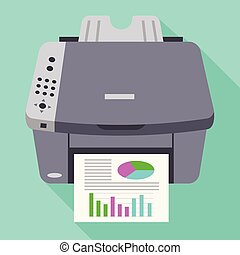 Color office printer icon, flat style