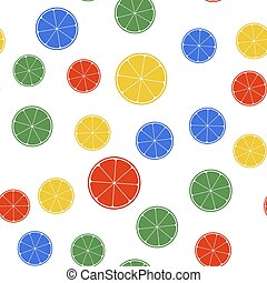 Color Orange in a cut. Citrus fruit icon isolated seamless pattern on white background. Healthy lifestyle. Vector