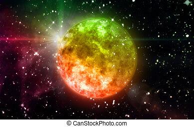 color orange planet in space