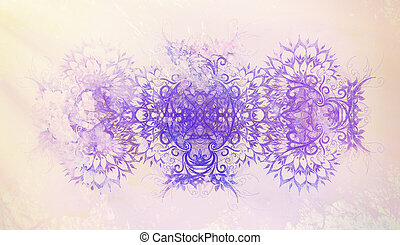 color ornamental mandala and softly blurred watercolor background.