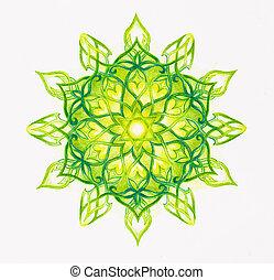 color ornamental mandala on white paper background. Heart Chakra.