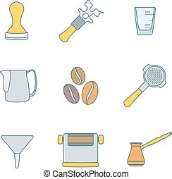 vector colored outline coffee barista equipment icons set tools espresso tamper, coffee wrench, measuring glass, pitcher, coffee beans, filter holder, funnel, knockbox, turk coffee pot