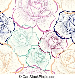Color outline roses on white background vector seamless pattern