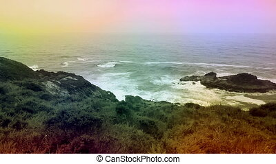 Color overlay California ocean view hill and rocky shore