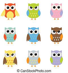 Color owls clip art - Owls with nine color combinations