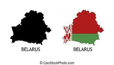 color, país, bandera, belarusian, mapa, negro