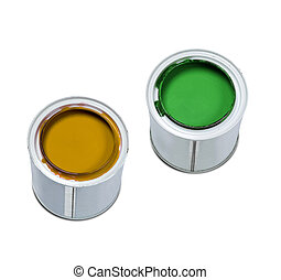 color paint cans isolated