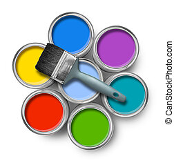 Color paint cans with brush