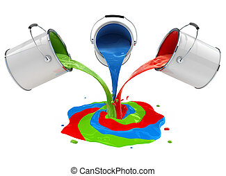color paint pouring from buckets and mixing 3d-illustration...