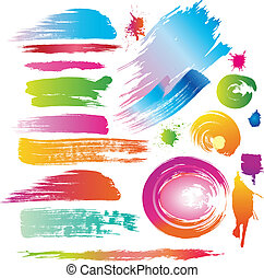 Color paint splashes and line brushes