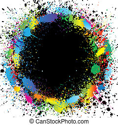 Color paint splashes border. Gradient vector background -...