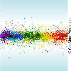 Color paint splashes. Gradient vector background on blue and white background.