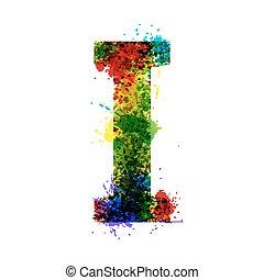 Color Paint Splashes. Gradient Vector Font. Watercolor Designer Decoration Alphabet. Ink Symbols Isolated on a White Background. Letter I