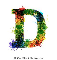 Color Paint Splashes. Gradient Vector Font. Watercolor Designer Decoration Alphabet. Ink Symbols Isolated on a White Background. Letter D