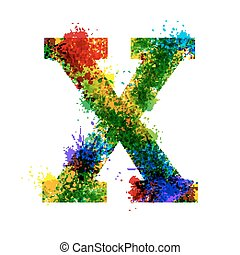 Color Paint Splashes. Gradient Vector Font. Watercolor Designer Decoration Alphabet. Ink Symbols Isolated on a White Background. Letter X