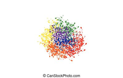 Color paint splashes. Vector rainbow background
