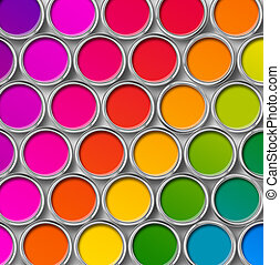 Color paint tin cans top view - Paint tin color chart, cans...