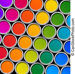 Color paint tin cans top view