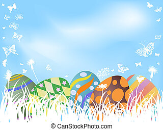 color painted easter eggs background