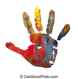 color painted hand mark 1 - close up of child hands painted...